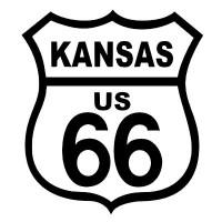 Route 66 Kansas Black on White patch