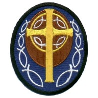 Blue Patch with Gold Cross Patch