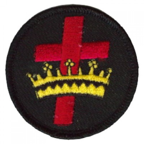 Ex Tax: $1.25. The cross crown patch is about 2.5 inches in diameter. I h