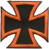 Iron Cross Orange on Black small patch
