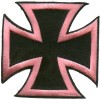 Iron Cross Pink on Black small Patch
