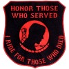 Honor Those-I Ride for Those Who Died Red on Blk Lg patch