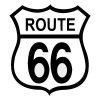 Route 66 Black on White patch