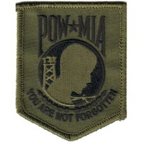 POW MIA You are not Forgotten Sm BLACK ON OLIVE Patch