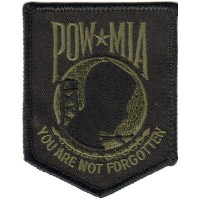 POW MIA You are not Forgotten Sm OLIVE ON BLACK Patch