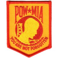 POW MIA You are not Forgotten Sm RED ON YELLOW-GOLD Patch