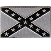 CONFEDERATE FLAG SILVER AND BLACK on silver